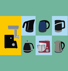 Set of kitchen appliances electric kettle meat vector