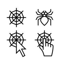 Spider web networking icons vector