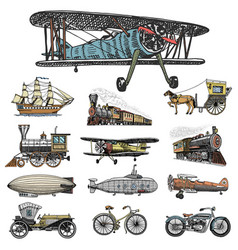 Submarine boat and car motorbike horse-drawn vector