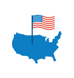 Usa map and flag america banner and land area vector