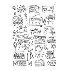 Vintage radio set sketch for your design vector