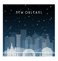 Winter night in new orleans night city vector