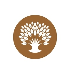 Stylized tree logo with rich crown of leaves vector image