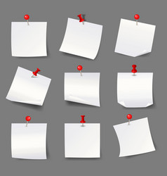 White note papers with thumbtacks blank paper vector
