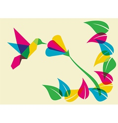 Spring time humming bird and flower vector