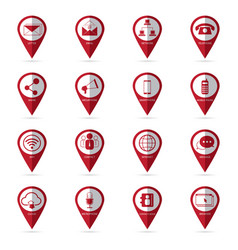 Communication icons with location icon vector