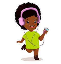Little african girl running and listening to the vector