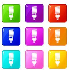 Fluorescent bulb icons 9 set vector