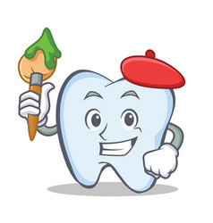 Artist tooth character cartoon style vector