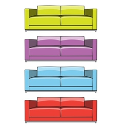 Sofa in some color variations vector