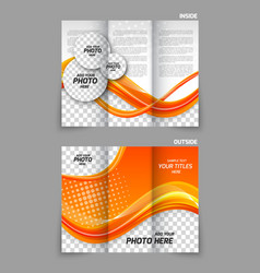 Orange tri-fold brochure vector
