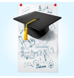 Education sketch with hat vector