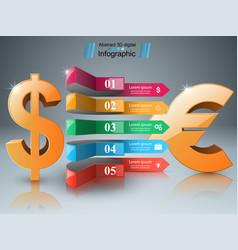 3d infographic design dollar euro icon vector image