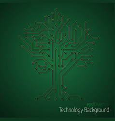 3d tree circuit board background vector image