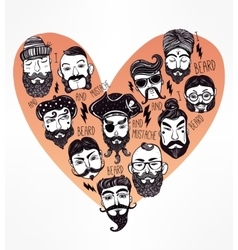 Hand drawn set of men f with stylish facial hair vector