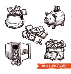 Hand drawn finance symbols set doodle vector