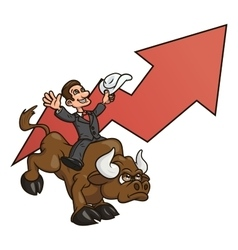 Businessman is riding bull 4 vector
