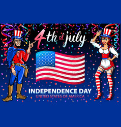 A girl and men celebrating independence day vector