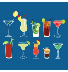 Alcohol cocktail drinks isolated set vector