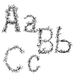 Alphabet in style of a sketch the letters a b c vector
