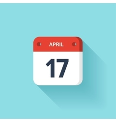 April 17 Isometric Calendar Icon With Shadow vector image vector image