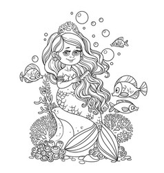Beautiful little mermaid girl sits on a rock and vector