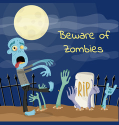Beware of zombies poster with undead monster vector