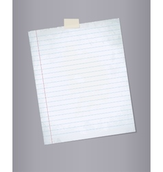 Blank lined paper from a notepad vector