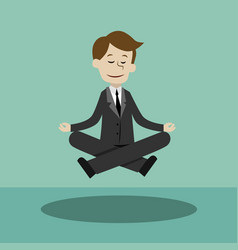 Businessman doing yoga in lotus pose making ideas vector