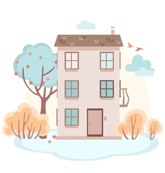 Cartoon story house with trees in soft colors vector
