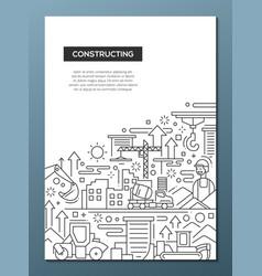 constructing - line design brochure poster vector image