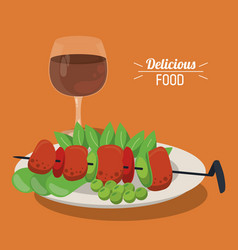 Delicious food skewer with meat vegetables dish vector