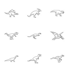Different dinosaur icons set outline style vector