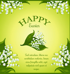 Easter floral greeting poster with spring flowers vector