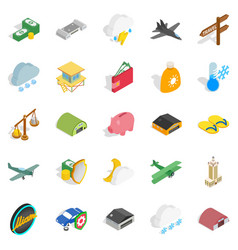 flight vehicle icons set isometric style vector image