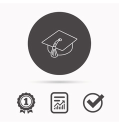Graduation cap icon Diploma ceremony sign vector image vector image