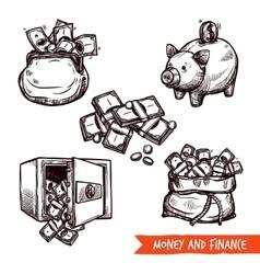 Hand drawn finance symbols set doodle vector
