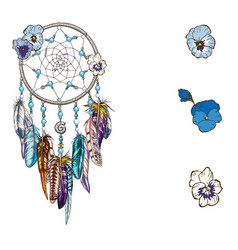 hand drawn ornate dreamcatcher with blue flowers vector image