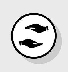 hand sign flat black icon in vector image vector image