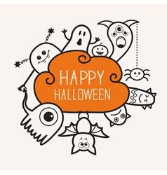 Happy halloween contour outline doodle ghost bat vector