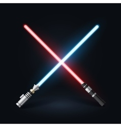 Light swords on dark background star master weapon vector
