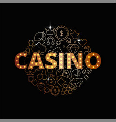 Line art set of casino icons vector