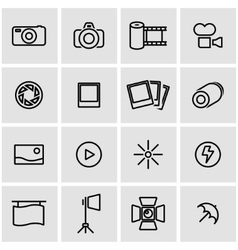 Line photo icon set vector