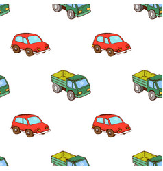 Lorry and car toy pattern seamless vector