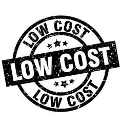 Low cost round grunge black stamp vector