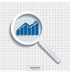 magnifying glass with analysis icon vector image vector image