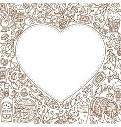 Oktoberfest background with doodle heart vector