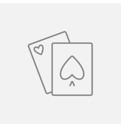 Playing cards line icon vector image