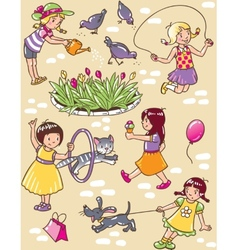 Seamless pattern with playing girls vector