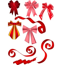 set of bows and ribbons vector image vector image